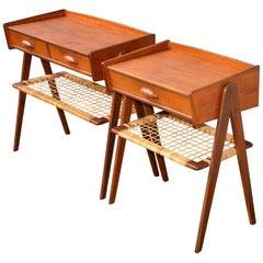 Danish Teak Pair of Nightstands in the Style of Kurt Ostervig