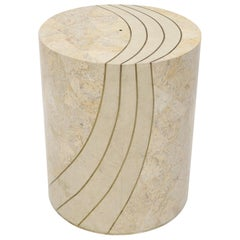 Large Cylinder Tessellated Stone Veneer Brass Inlay Dining Table Base Pedestal