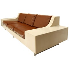 Mid-Century Modern 3-Seat Fiberglass Sofa with End Tables