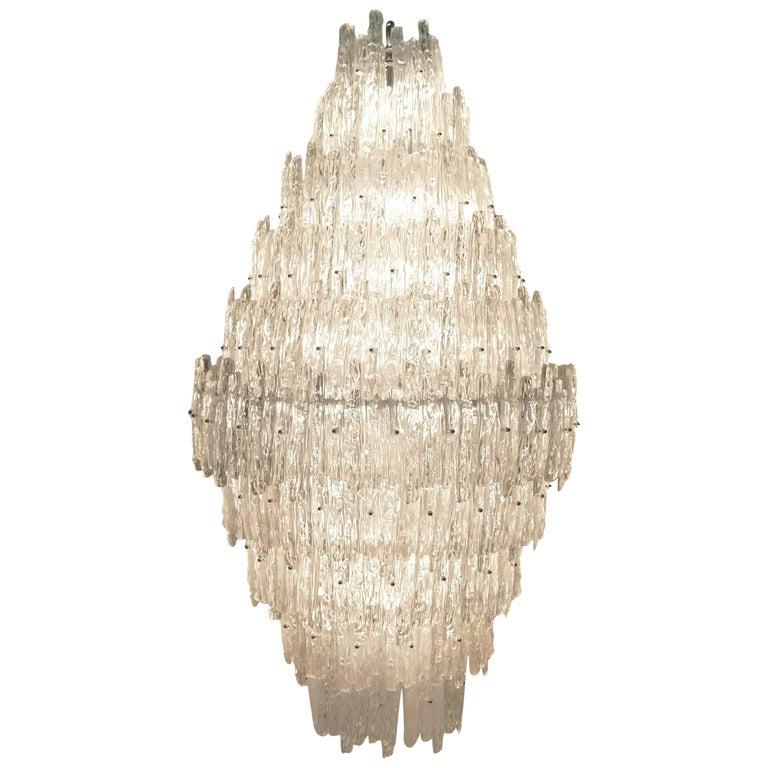 Monumental J. T. Kalmar Lucite Ice Crystal Chandelier For Sale