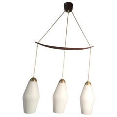 Scandinavian Style Chandelier with Teak and Opaline, circa 1960