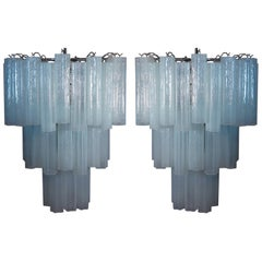 Amazing Pair of Tronchi Chandeliers in Toni Zuccheri Style for Venini, Murano