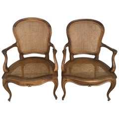 18th Louis XV Cane Back and Seat Fauteuil Armchair