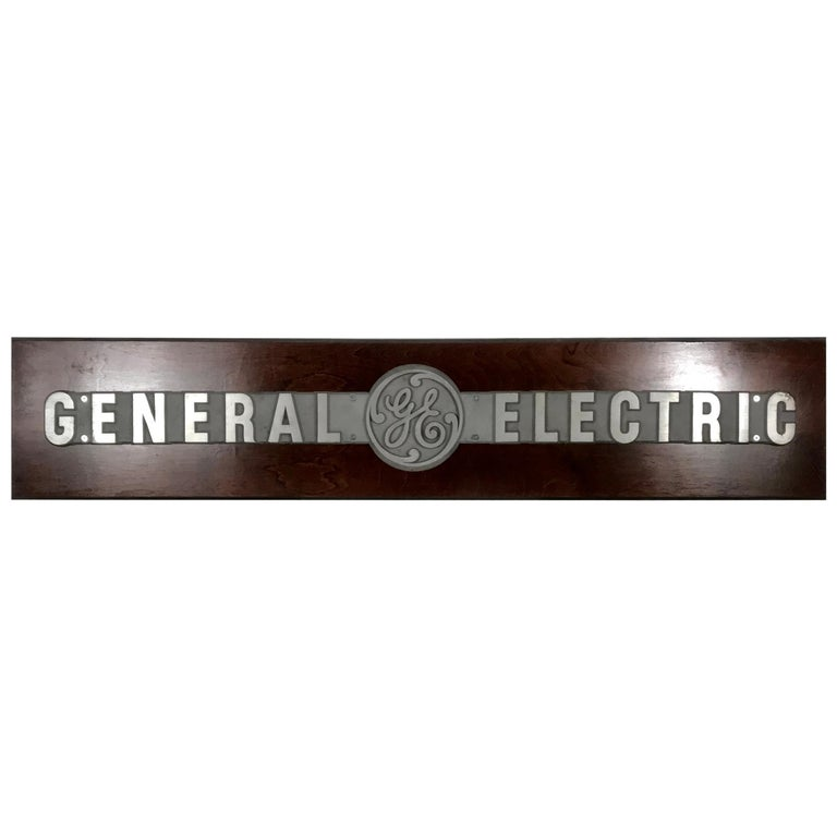 1950s Aluminum on Wood General Electric Logo, Sign Plaque For Sale