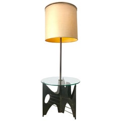 Brutalist Metal Floor Lamp with Table by Harry Balmer for Laurel