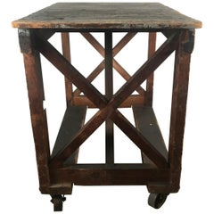 Antique Industrial Factory Work Table on Iron Castors