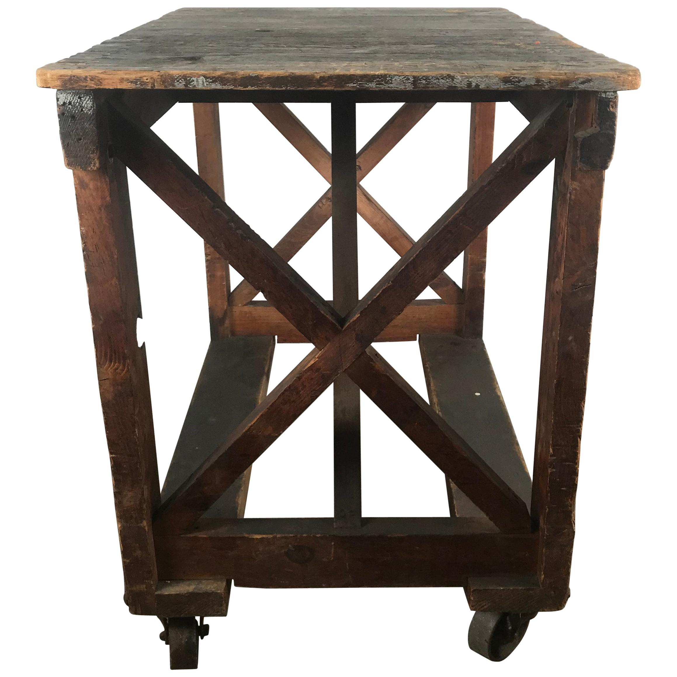 Antique Industrial Factory Work Table On Iron Castors For Sale