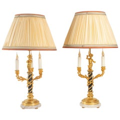 Pair of Lamps in Love, 3 Lights, Gilt Bronze, Patinated, Louis XVI Style