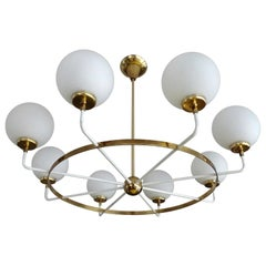 Large Italian Sputnik Brass Glass Chandelier Pendant Light, Stilnovo Gio Ponti