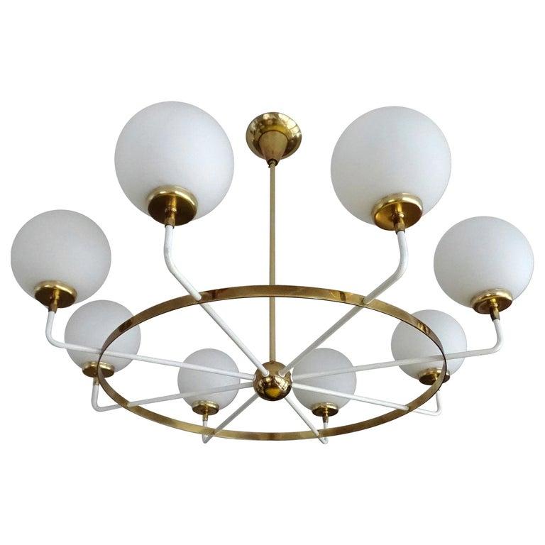Large  Midcentury Italian Sputnik Brass Glass Chandelier, Stilnovo Gio Ponti Era For Sale