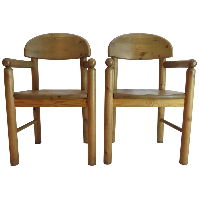 Pair of Danish Pine Carver Dining Chairs by Rainer Daumiller for Hirtshals For Sale