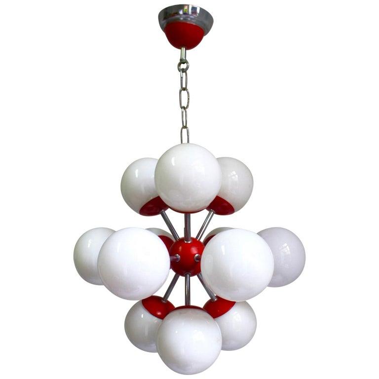 Midcentury Space Age 12 Lights Red Sputnik Ceiling Lamp, 1960s For Sale