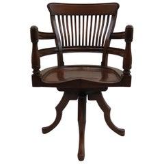 19th Century E W Godwin Swivel Office Chair in Walnut