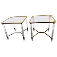 Super Versatile Elegant Pair of Lucite and Brass End Tables