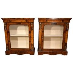 Exquisite Pair of Inlaid Walnut Brass Pier Cabinets