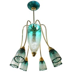 Italian Postmodern Murano Glass Chandelier Attributed to Seguso
