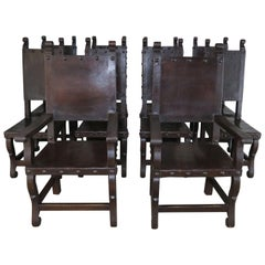 Set of Ten Spanish Walnut Leather Dining Chairs, circa 1940s