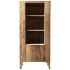 Contemporary Brutalist Style Cupboard in Solid Oak (light)