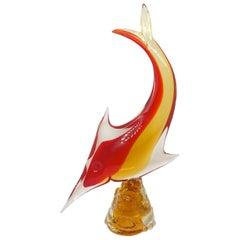 Murano Italian Art Glass Sword Fish Sculpture Statue, Italy Vintage