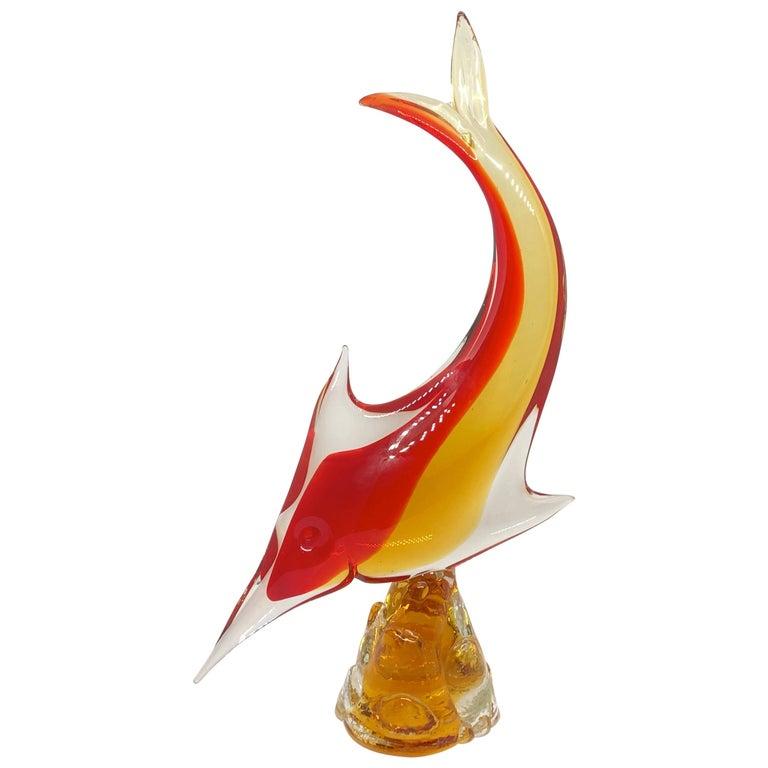 Murano italienische Glaskunst Schwertfisch Skulptur Statue, Italien Vintage 1