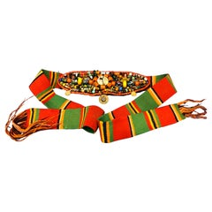 Handwoven Striped Wide Moroccan Berber Antique Beaded Wool Belt
