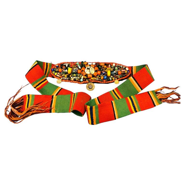 Handwoven Striped Wide Moroccan Berber Antique Beaded Wool Belt  For Sale