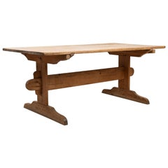 Swedish Folk Art Dining Table in Unpainted Pine with Original Patina