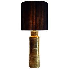 Bitossi Mid-Century Modern Gold Ceramic Table Lamp by Aldo Londi