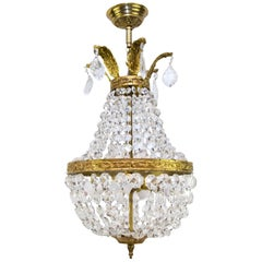 French Empire Style Crystal and Bronze Basket - Shaped Chandelier