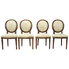 20th Century Italian Louis XVI Style Beech Wood Four Chairs