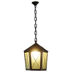 Arts & Crafts Handcrafted Copper and Green Cathedral Glass Pendant Chandelier