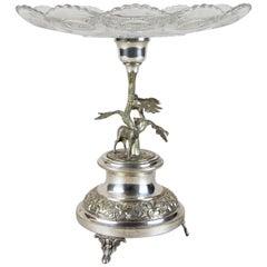 Silvered Art Nouveau Centrepiece with Glass Plate, Austria, circa 1910