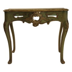 1950s French Faux Painted Carved Wood Console