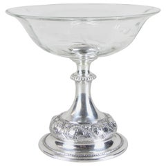 Silvered Centerpiece with Cut Glass Bowl Art Nouveau, Austria, circa 1900