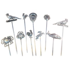 Set of 10 HC France Figural and Animal Meat Skewers