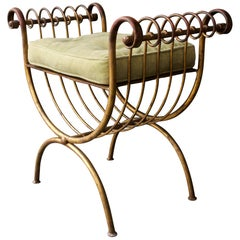 1950s Salvadori Harp Vanity Stool Gold on Steel Greek Revival Hollywood Regency