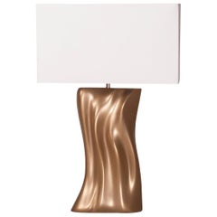 Amorph Doris Table Lamp, Gold Finish, White Silk Shade