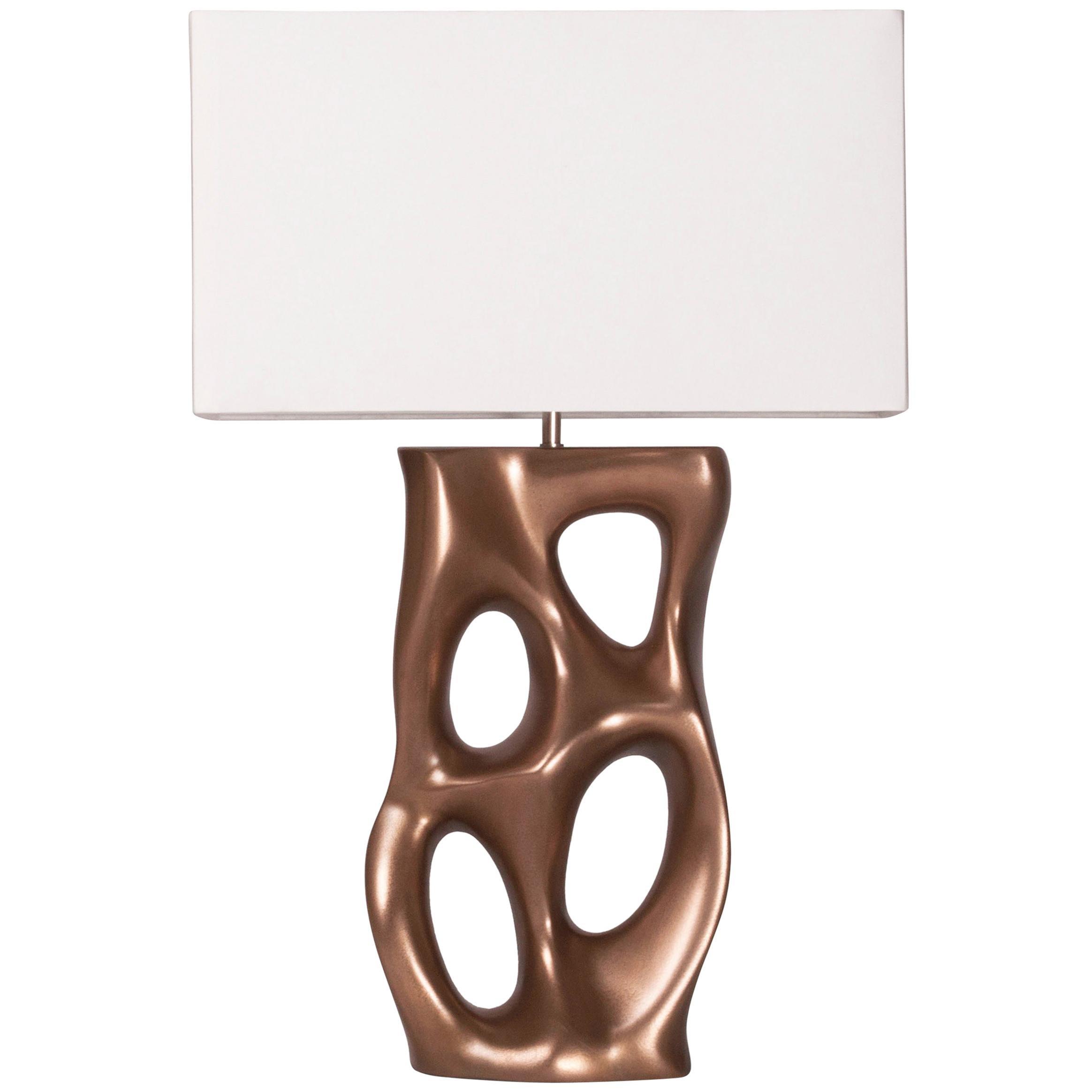 Amorph Loop Table Lamp, Gold Finish, Ivory Silk Shade