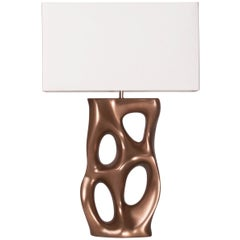 Amorph Loop Table Lamp, Gold Finish, Ivory Silk Shade