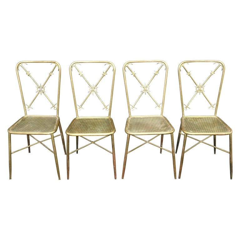 4 Italian Nautical Dining Chairs in the Manner of Gio Ponti For Sale