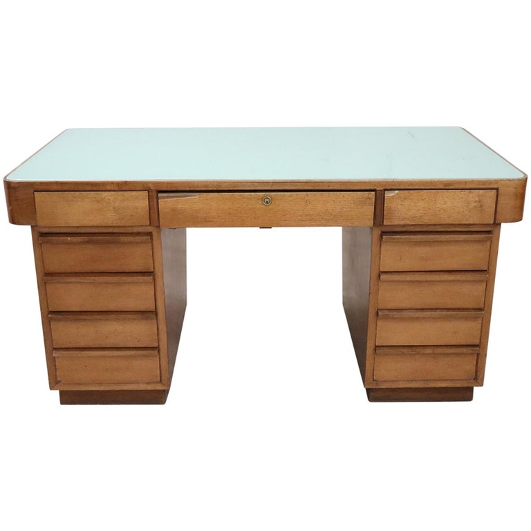 20th Century Italian Art Deco Writing Desk in Walnut Veneered and Glass Top For Sale