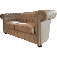Marvelous Roche Bobois Light Peach Leather Loveseat Small Sofa For Pabps2019 Chair Design Images Pabps2019Com