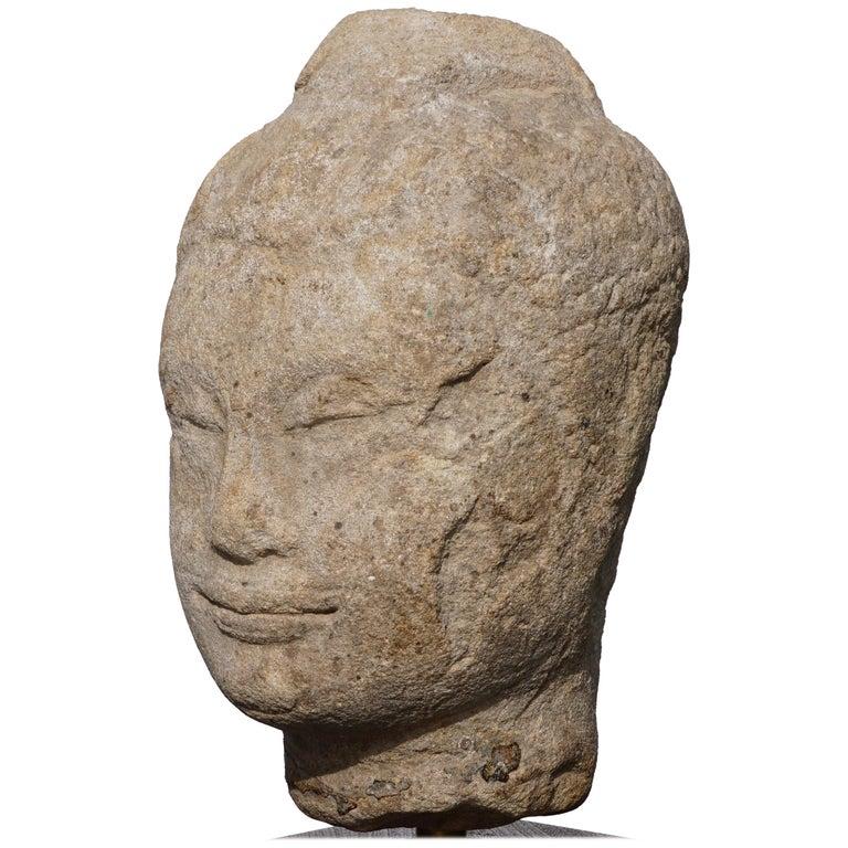 15th-16th Century Thai Sandstone Buddha Head For Sale
