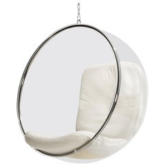White Leather Bubble Chair by Eero Aarnio