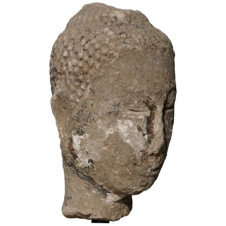 Large 15th-16th Century Sandstone Thai Buddha Head For Sale