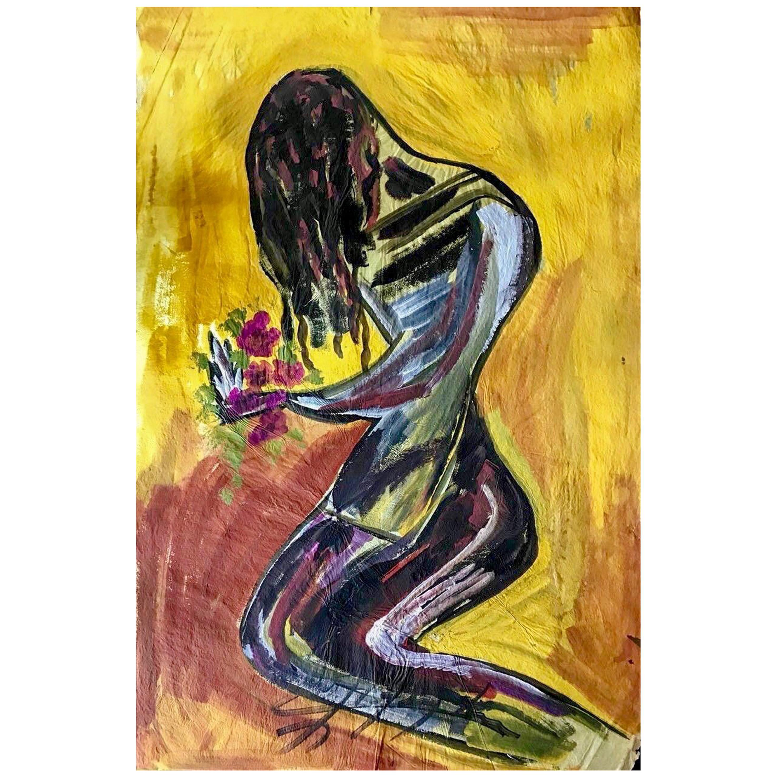 Jesús 'Chucho' Reyes Ferreira, Yellow Christ, Mixed on China Paper