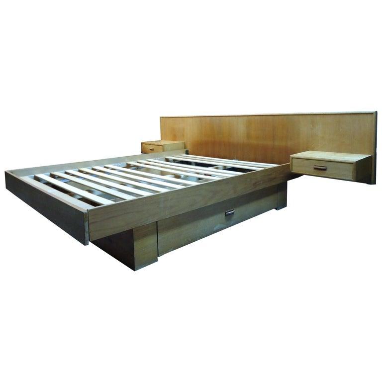 Mid-Century Modern Teak Queen Size Platform Bed For Sale