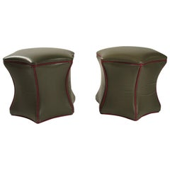Pair of Green Leather Ottomans on Wheels