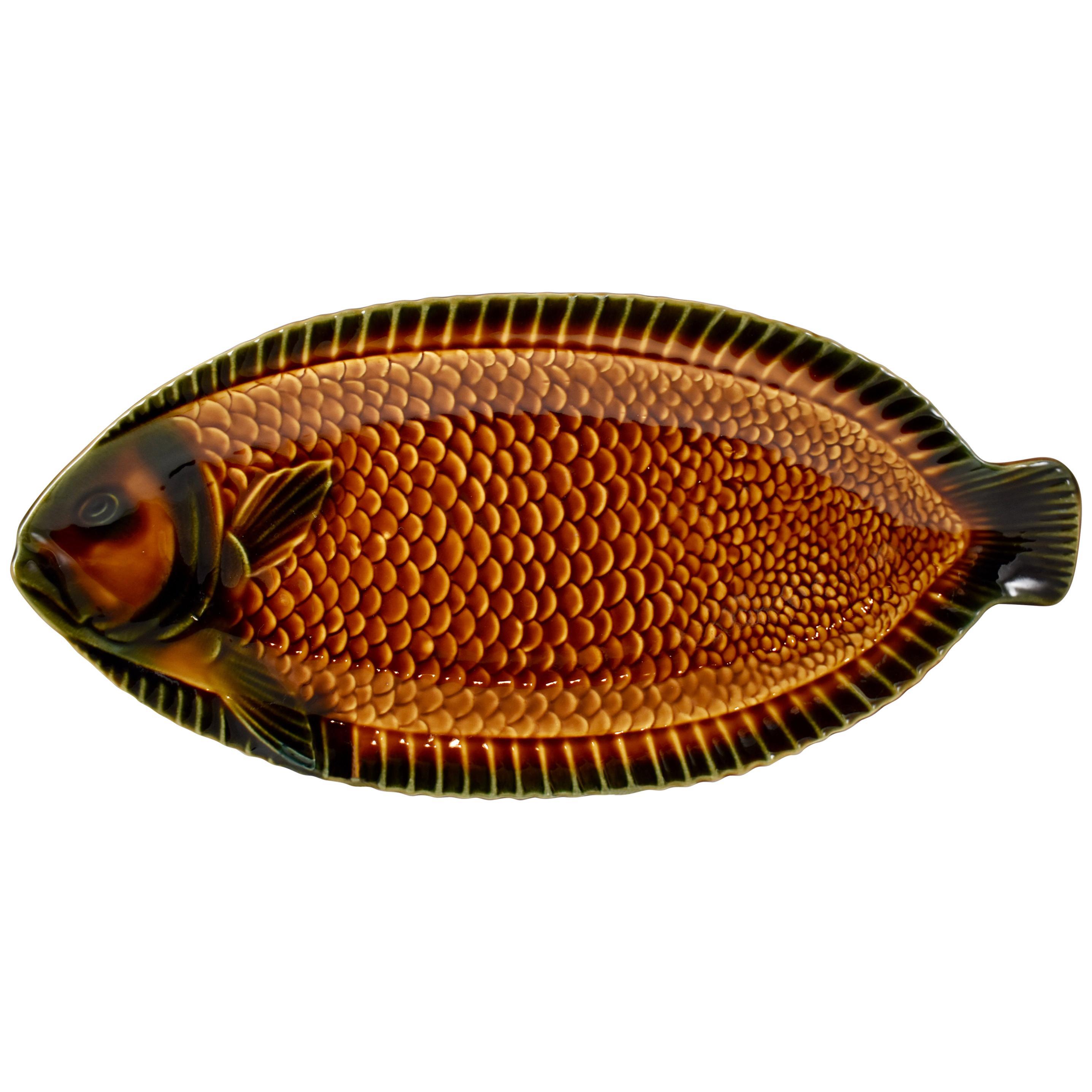 Sarreguemines Mid-Century Era French Faïence Majolica Whole Fish Serving Platter