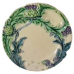 Fives-Lille French Majolica Artichoke & Asparagus Plate, circa 1890